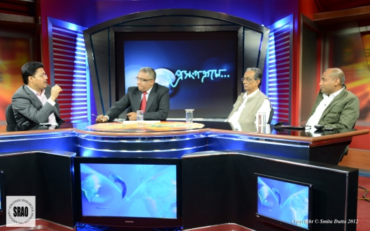 With Bhupen Bora, Parliamentary Secy, Home, Government of Assam and Haider Hussain, former editor, Asomiya Pratidin on Mrinal Talukdar's prime time talkshow 'Proxongokrome' discussing sensitive matters related to the BTAD violence on 16 Nov 2013.