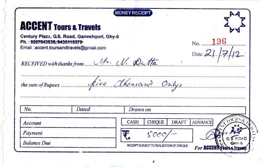 Accent Tours & Travels Receipt 2